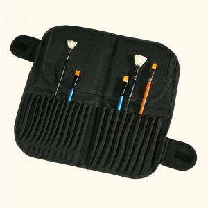 porta pennelli tessuto matite strumenti in tessuto nero con chiusura